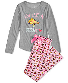 Max & Olivia Little & Big Girls 2-Pc. Pizza Graphic Pajama Set