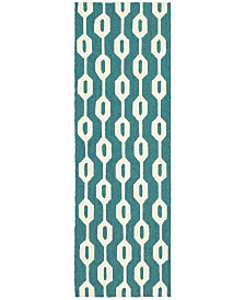 "CLOSEOUT! Tommy Bahama Home   Atrium Indoor/Outdoor 51102 Blue/Ivory 2'6"" x 8' Runner Area Rug"