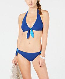 kate spade new york Reversible Tie-Front Halter Bikini Top & Side-Tie Bikini Bottoms