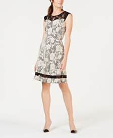 Monteau Petite Floral Lace Fit & Flare Dress