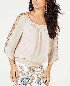 Thalia Sodi Smocked Lattice-Sleeve Top, Created for Macy's