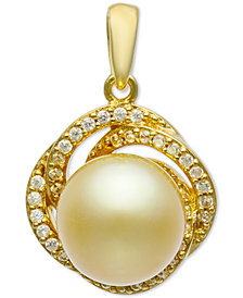 Cultured Golden South Sea Pearl (9mm) & Diamond (1/5 ct. t.w.) Pendant in 14k Gold