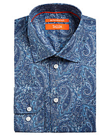 Tallia Men's Slim-Fit Non-Iron Performance Stretch Paisley Dress Shirt