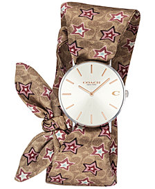 COACH Women's Perry Signature C Satin Scarf Wrap Strap Watch 36mm Created for Macy's