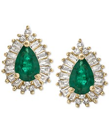 Emerald (1 ct. t.w.) & Diamond (1/3 ct. t.w.) Stud Earrings in 14k Gold (Also Available in Sapphire & Certified Ruby)