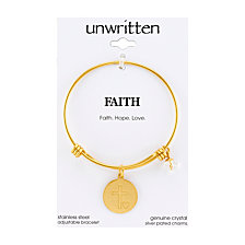"Unwritten Yellow Gold Tone ""Faith Hope Love"" Charm Bangle Bracelet, 8"" Length, 2.25"" Diameter"