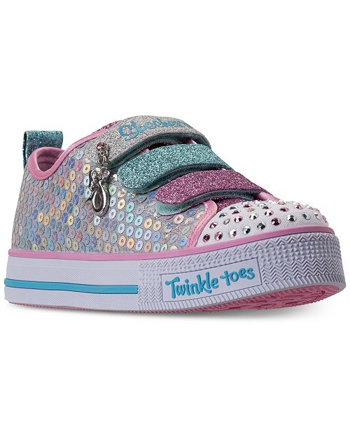 Skechers Little Girls' Twinkle Toes: Twinkle Lite - Mermaid Magic Adjustable Strap Casual Sneakers from Finish Line