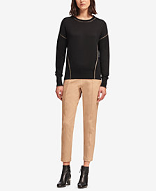 DKNY Metallic-Seam Crew-Neck Sweater, Created for Macy's