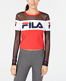 Fila Logo Mesh-Inset Colorblocked Cropped Top