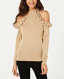 XOXO Juniors' Ruffled Cold-Shoulder Sweater