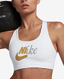 Nike Metallic-Logo Racerback Medium-Support Compression Sports Bra