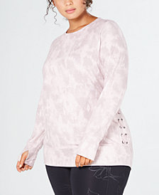 Ideology Plus Size Tie Dye Lace-Up Top, Created for Macy's