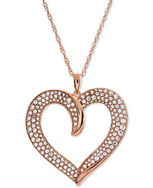 "Diamond Pavé Heart 18"" Pendant Necklace (1 ct. t.w.)"