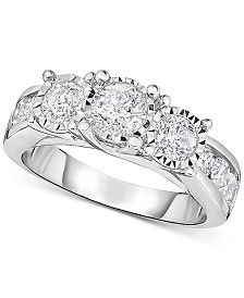 TruMiracle® Diamond Three Stone Engagement Ring (2 ct. t.w.) in 14k White Gold