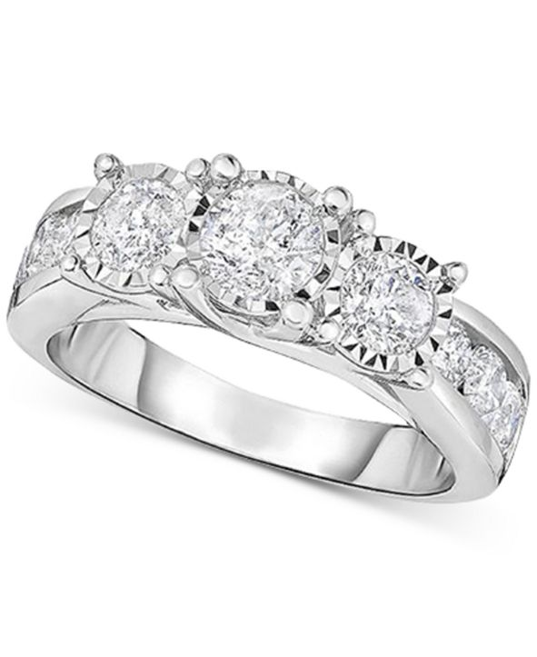 TruMiracle Diamond Three Stone Engagement Ring (2 ct. t.w.) in 14k White Gold