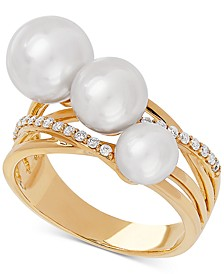 White Cultured Freshwater Pearl (6, 7 & 8mm) & Diamond (1/6 ct. t.w.) Ring in 14k Gold