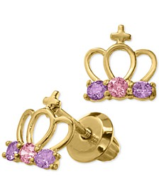 Children's Cubic Zirconia Tiara Safety-Back Earrings in 14k Gold