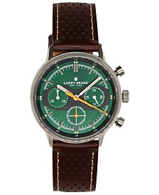 Lucky Brand Men's Chronograph Fairfax Brown Perforated Leather Strap Watch 40mm