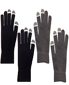 2 Pair Pack Touch Screen Glow In The Dark Tip Micro-Velvet Gloves