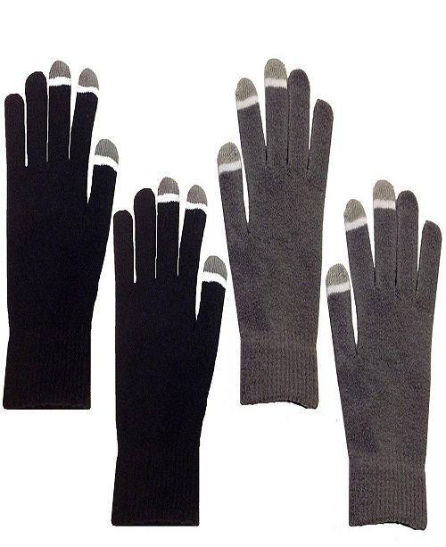 MinxNY 2 Pair Pack Touch Screen Glow In The Dark Tip Micro-Velvet Gloves
