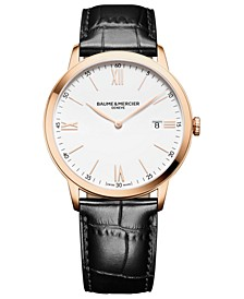 Men's Swiss Classima Black Leather Strap Watch 40mm