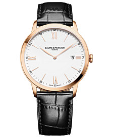 Baume & Mercier Men's Swiss Classima Black Leather Strap Watch 40mm
