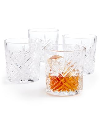Set of 4 Cut-Glass Double Old Fashion Glasses, Created for Macy's