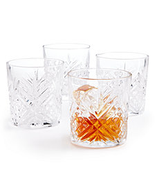 Martha Stewart Collection Set of 4 Cut-Glass Double Old Fashion Glasses, Created for Macy's