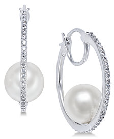 Danori Silver-Tone Pavé & Imitation Pearl Hoop Earrings, Created for Macy's