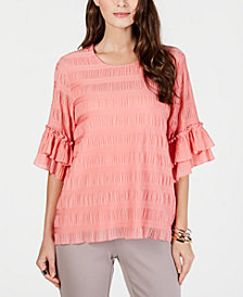 Alfani Textured Ruffle-Sleeve Top, Created for Macy's