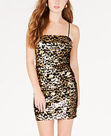 Trixxi Juniors' Cheetah-Sequin Bodycon Dress