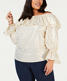 MICHAEL Michael Kors Plus Size Off-The-Shoulder Ruffled Top