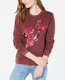 Lucky Brand Floral-Embroidered-Graphic Sweatshirt