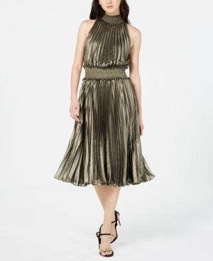 73ae8d2b74 Avec Les Filles Aves Les Filles Pleated Midi Dress In Bronze ...