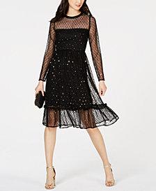 Avec Les Filles Embellished Mesh A-Line Dress