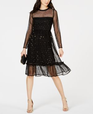 AVEC LES FILLES Embellished Mesh A-Line Dress in Oxford