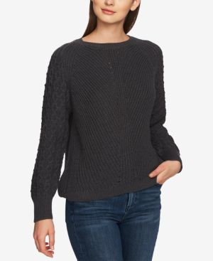 Image of 1.state Cotton Crewneck Textured-Sleeve Sweater