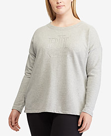 Lauren Ralph Lauren Plus Size Foil-Logo Long-Sleeve T-Shirt