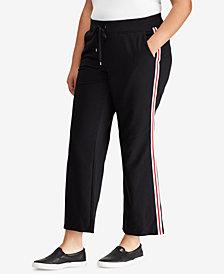 Lauren Ralph Lauren Plus Size Velvet-Trim Jogger Pants