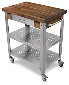"Cucina Elegante Kitchen Cart with 1.5"" Walnut Edge Grain Top"