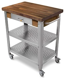 "John Boos Cucina Elegante Kitchen Cart with 1.5"" Walnut Edge Grain Top"