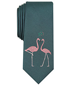 Bar III Men's Mistletoe Flamingos Skinny Tie, Created for Macy's