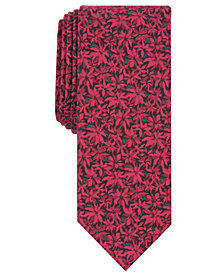 Bar III Men's Poinsettia Skinny Floral-Print Tie, Created for Macy's