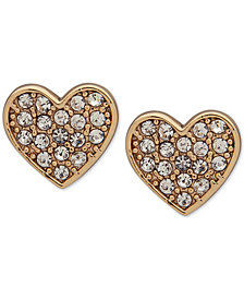 DKNY Gold-Tone Pavé Heart Stud Earrings
