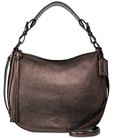 COACH Metallic Leather Sutton Hobo Shoulder Bag