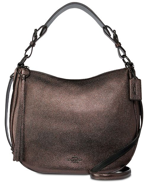 32268a41 COACH Sutton Hobo Shoulder Bag in Metallic Leather & Reviews ...
