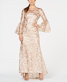 Calvin Klein Sequined Bell-Sleeve Gown