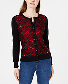 Charter Club Lace-Front Cardigan Sweater, Created for Macy's