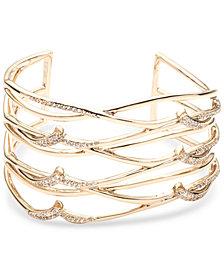 Carolee Gold-Tone Pavé Openwork Cuff Bracelet