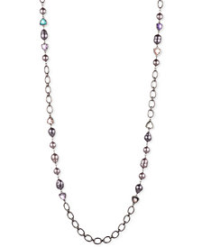 "Carolee Hematite-Tone Crystal, Imitation & Freshwater Pearl (11x15mm) 36"" Station Necklace"